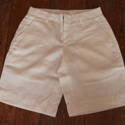 Sri panwa Male Linen Shorts - Cream/Brown Line