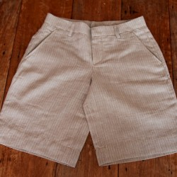 Sri panwa Male Linen Shorts - Dark Brown / White Line